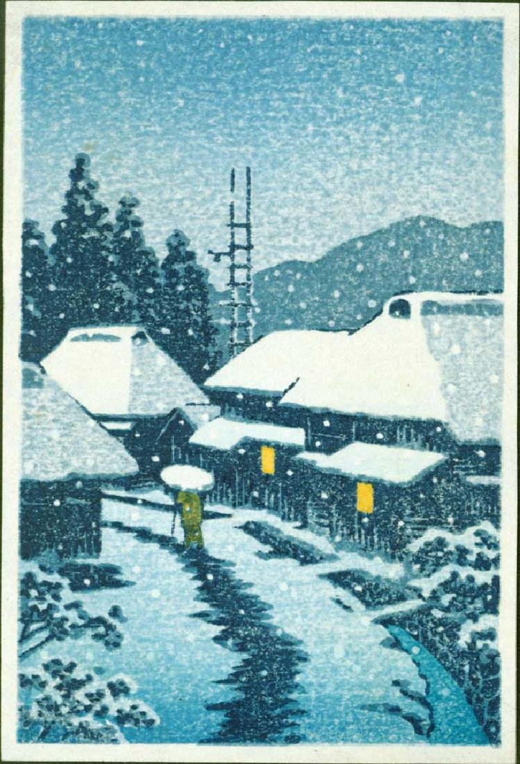 Kawase Hasui Woodblock Evening Snow at Terajima Village