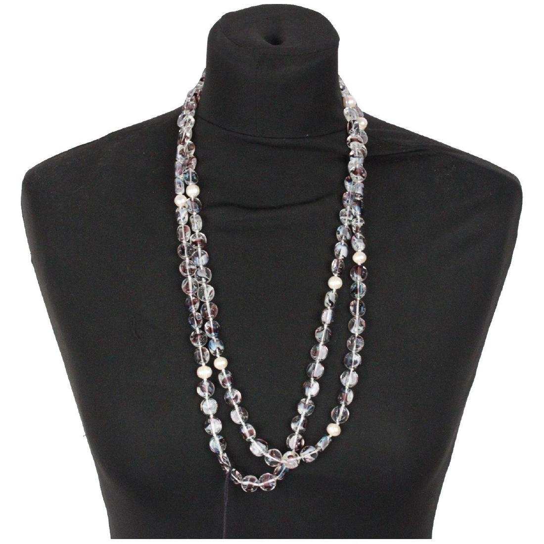 Vintage Round Glass Beads & Faux Pearls Long Necklace