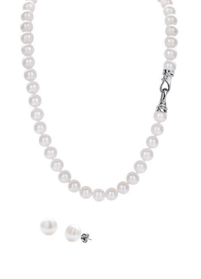 Freshwater Pearl Necklace & Stud Earrings Set