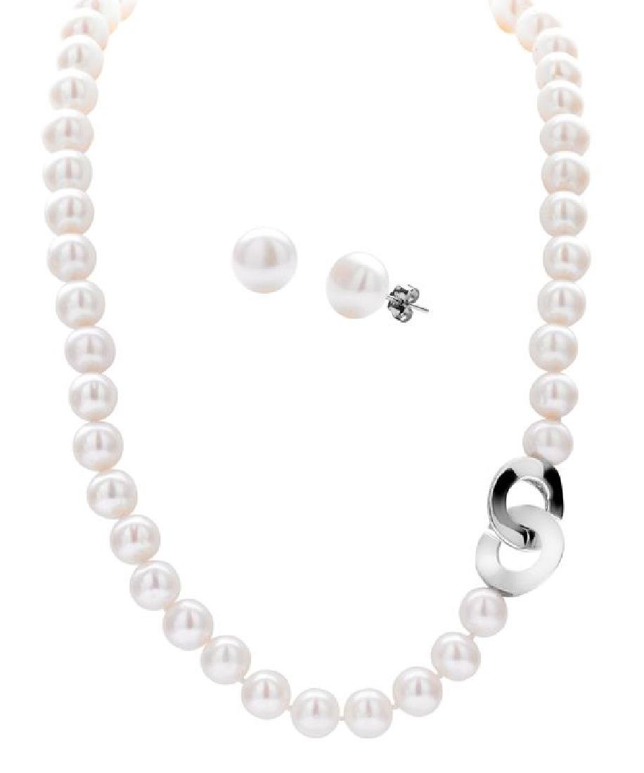 Freshwater Pearl Necklace & Stud Earrings Jewelry Set