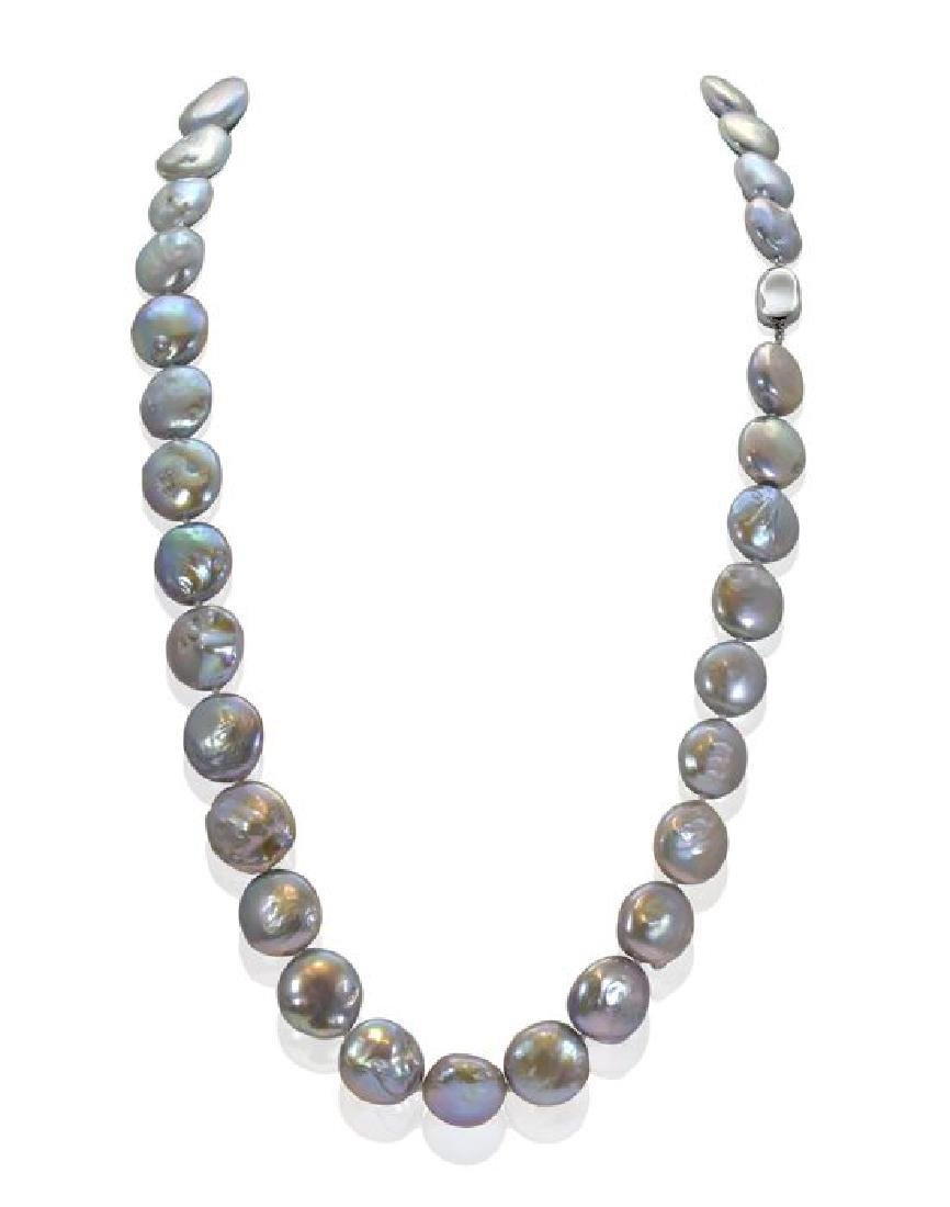 Long Baroque Freshwater Pearl Necklace, Silver Clasp