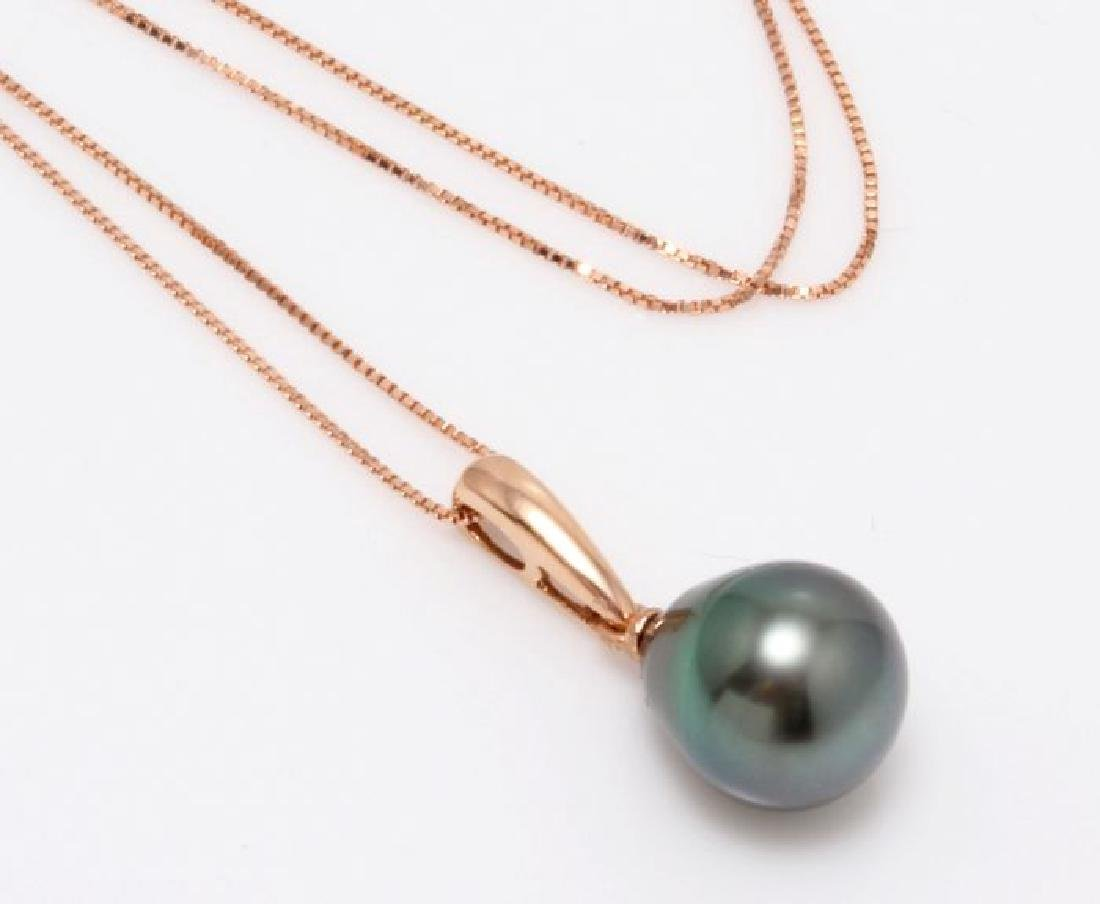 18K Rose Gold Tahitian Pearl Drop Necklace