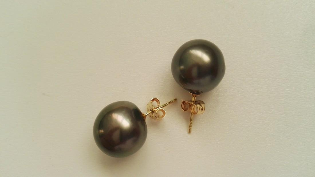 18k Yellow Gold Tahitian South Sea Pearl Stud Earrings