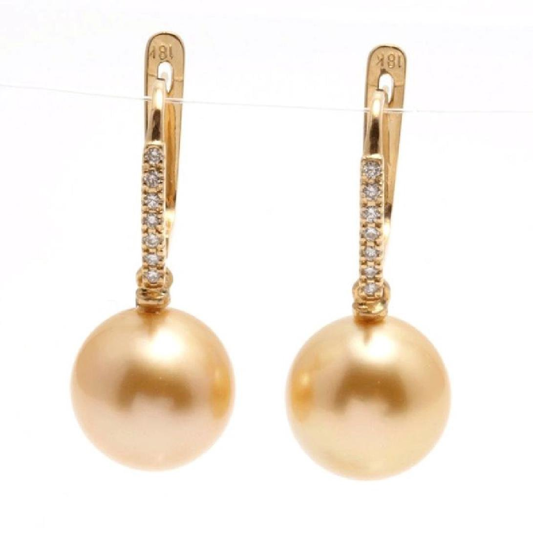 18K Yellow Gold South Sea Pearl Diamond Earrings