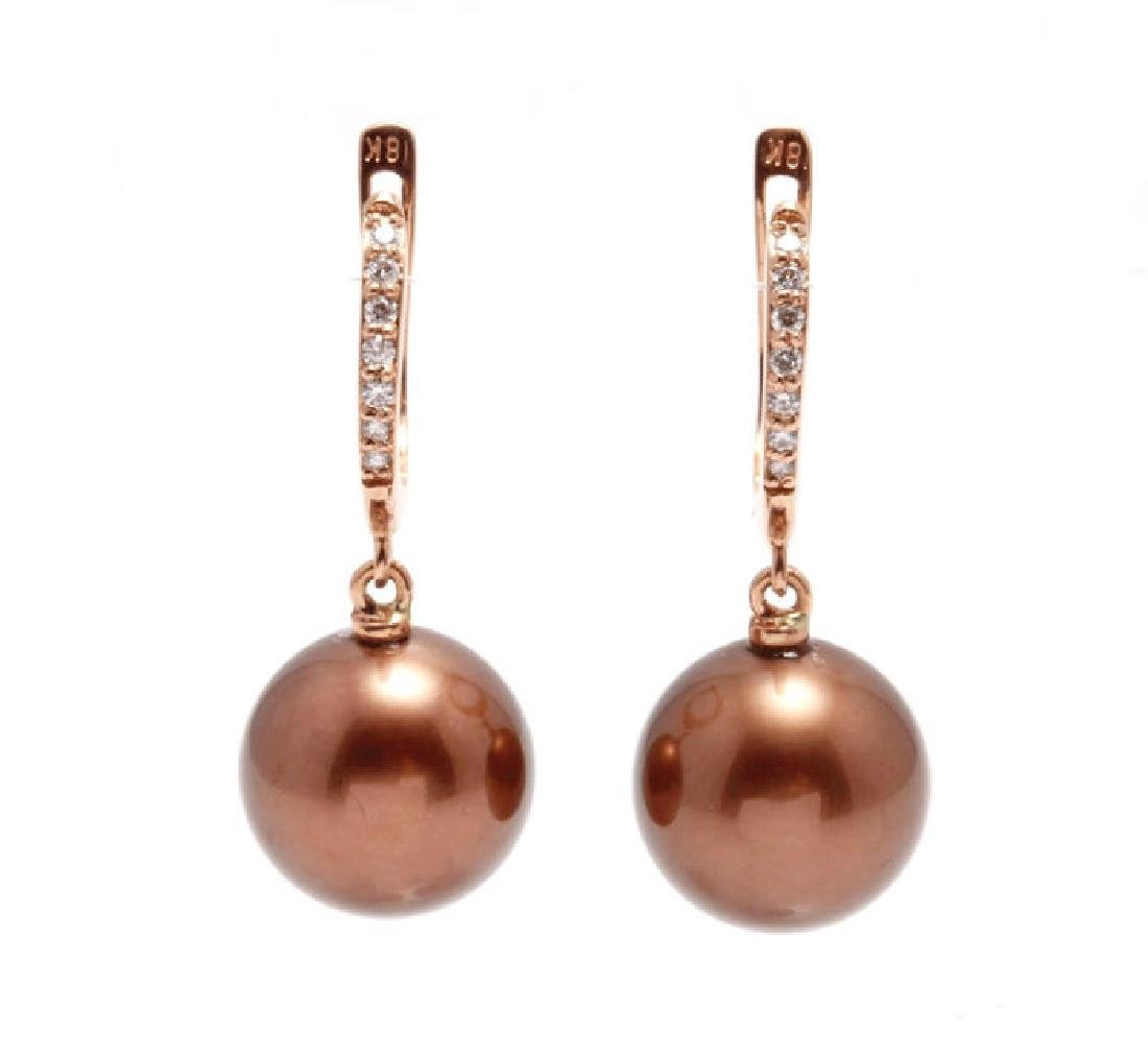 18K Rose Gold Tahitian Pearls Diamond Earrings