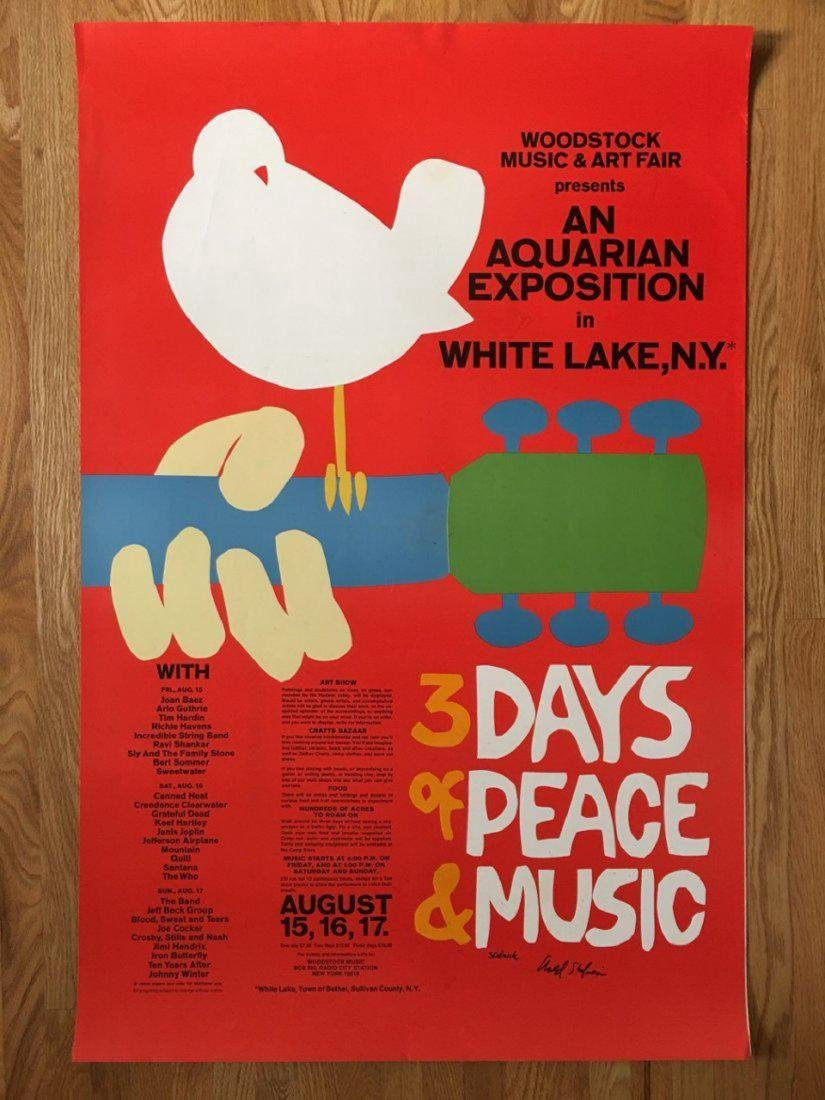 ORIGINAL WOODSTOCK POSTER - SIGNED - DIRECT FROM ARTIST