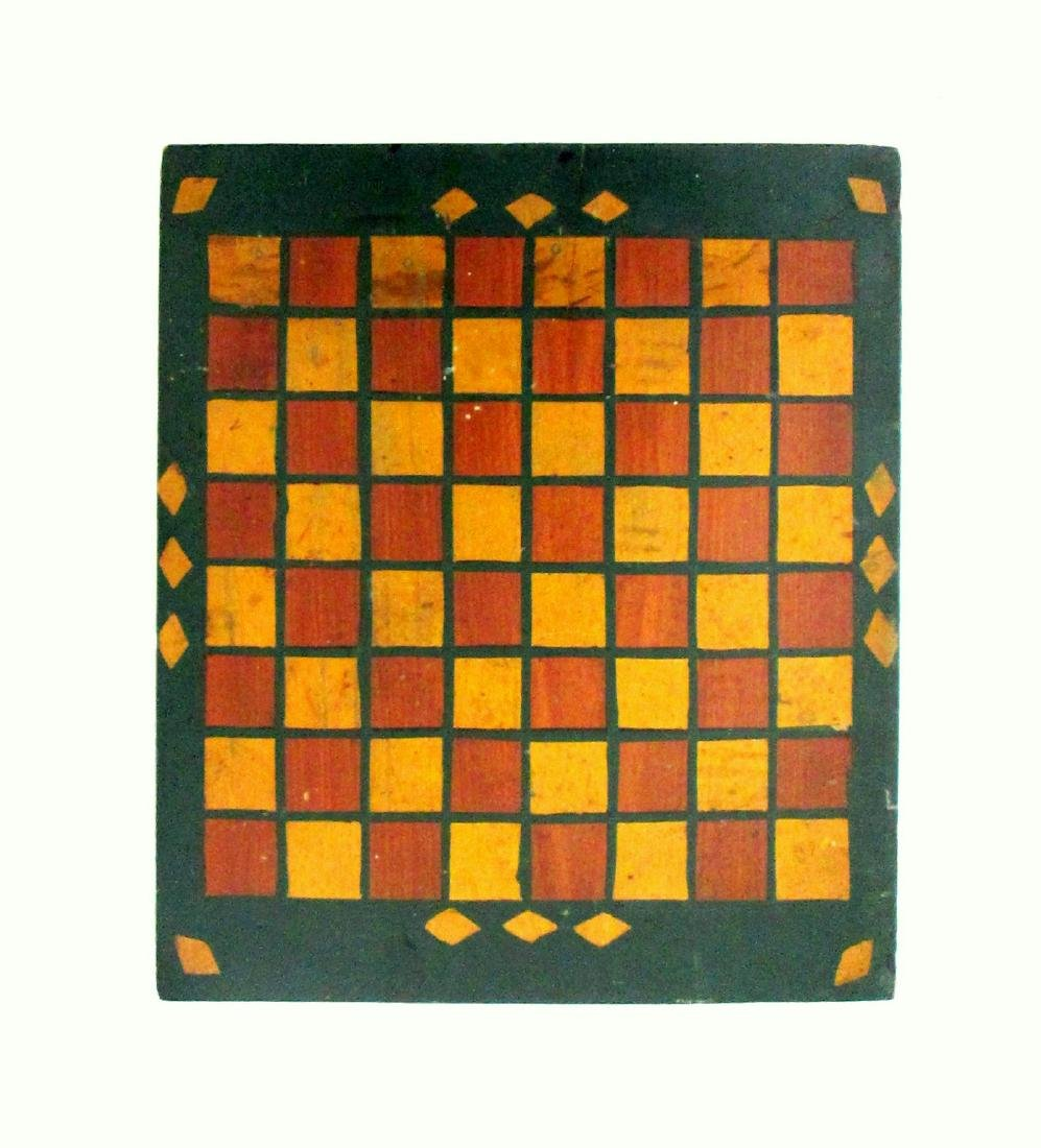 Early Painted Checkers Gameboard