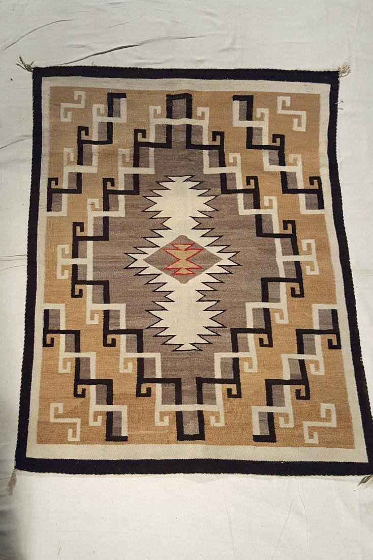 Navajo 2 Grey Hills Rug With Red Outlined Center C 1930