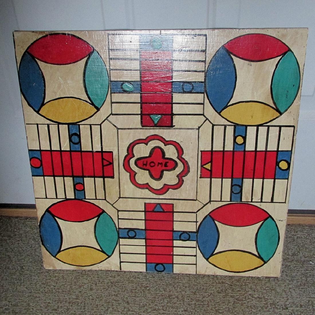 Vintage Folk Art Parcheesi Game Board, Original Paint