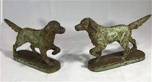 Cast Iron Setters Attributed to Hubley Book Ends