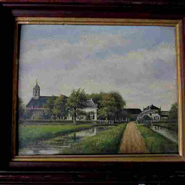c1906 Pastoral Oil Painting Signed