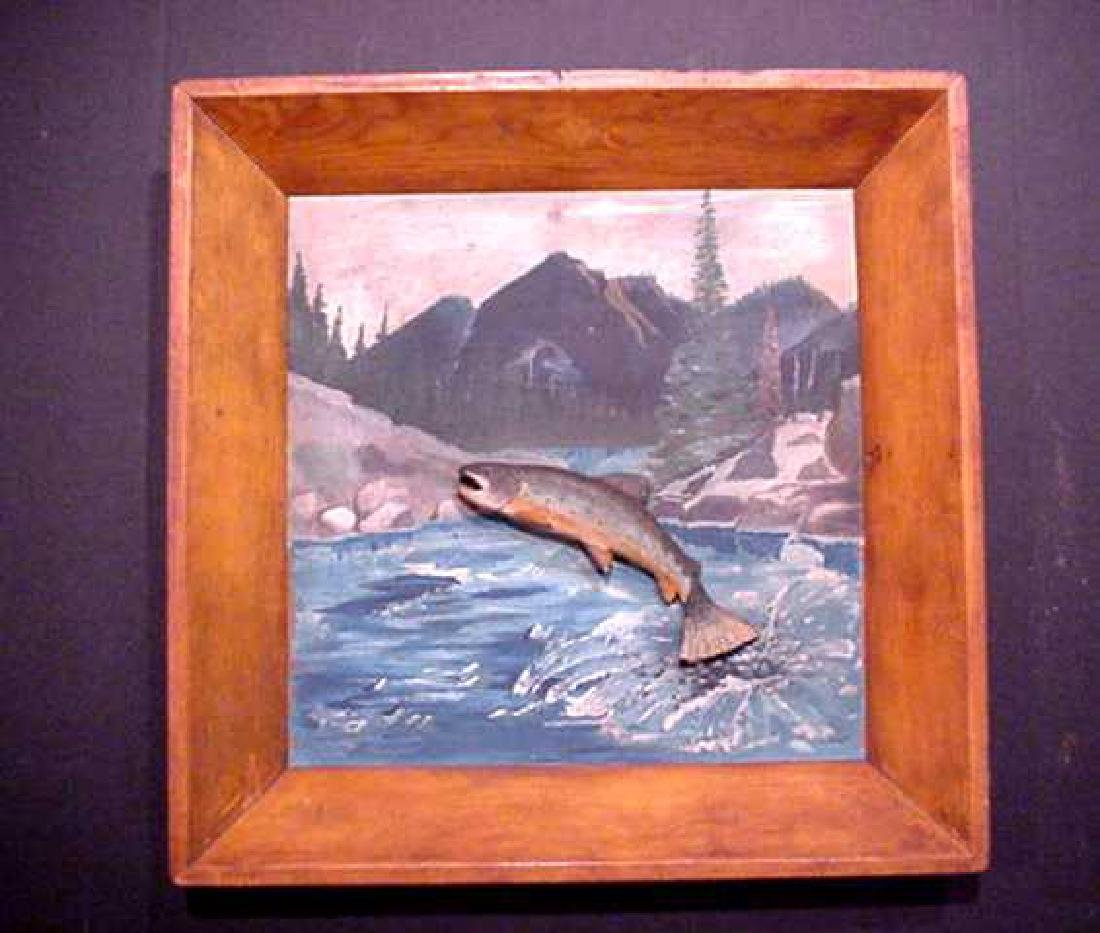 Wood Diorama With Jumping Trout