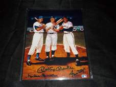 Mickey Mantle Duke Snyder Willie Mays Autographed Photo