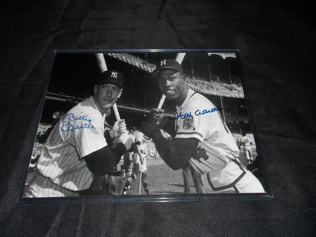 Hank Aaron & Mickey Mantle, Autogrpahed 8x10 Photo