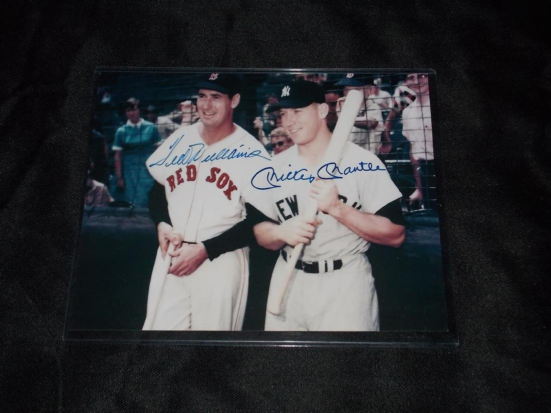 Ted Williams & Mickey Manlte, Autographed 8x10 Photo