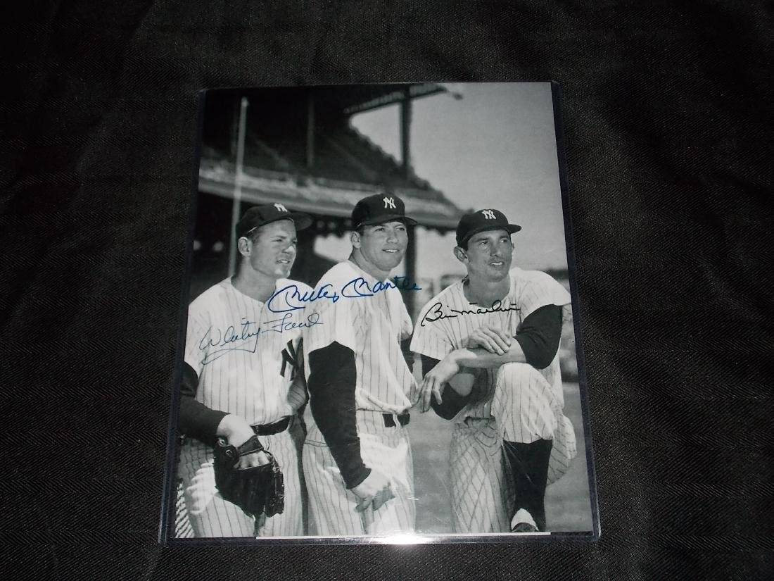 Whitey Ford Mickey Mantle Billy Martin Autograph Photo