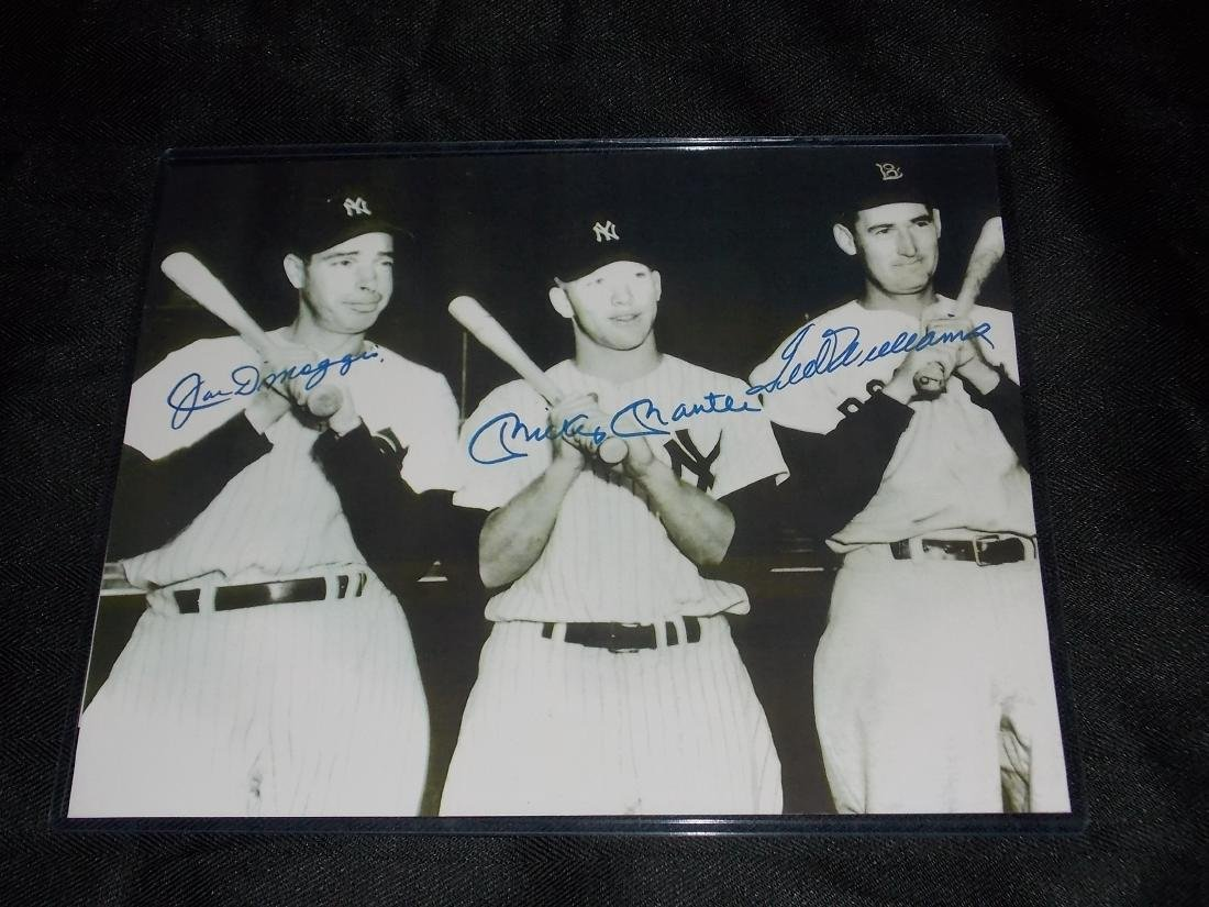 Mickey Mantle Ted Williams Joe DiMaggio Autograph Photo