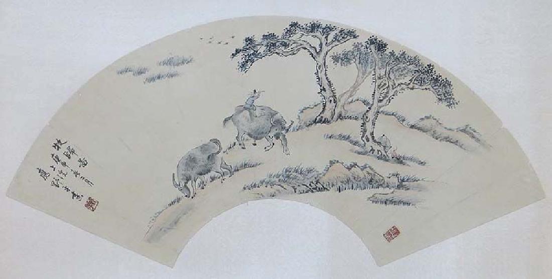 Chinese Scholar Fan Painting Boys & Buffalos Yin Yeping