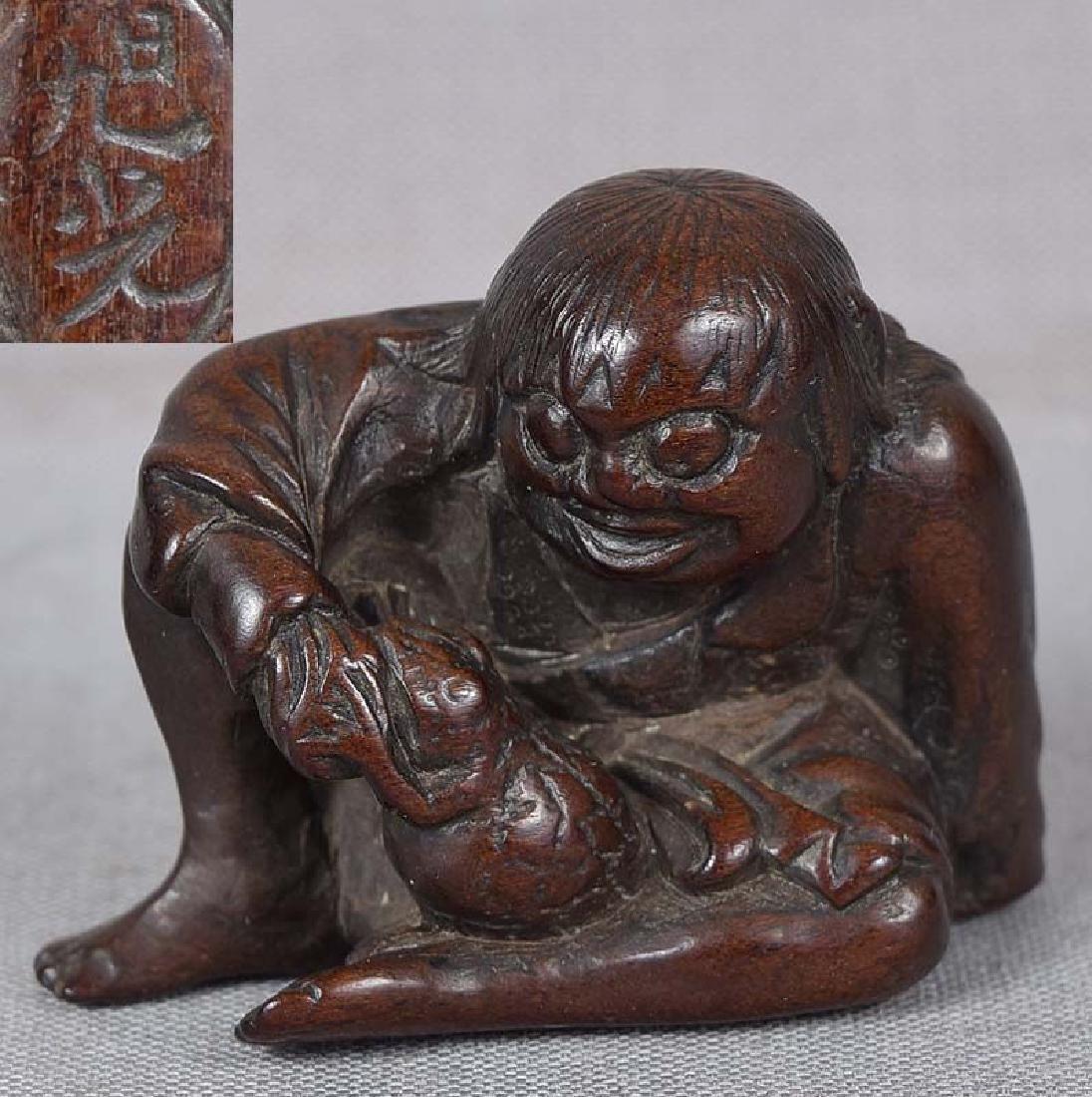 19th Century Netsuke Gama Sennin With Toad by Kyokko