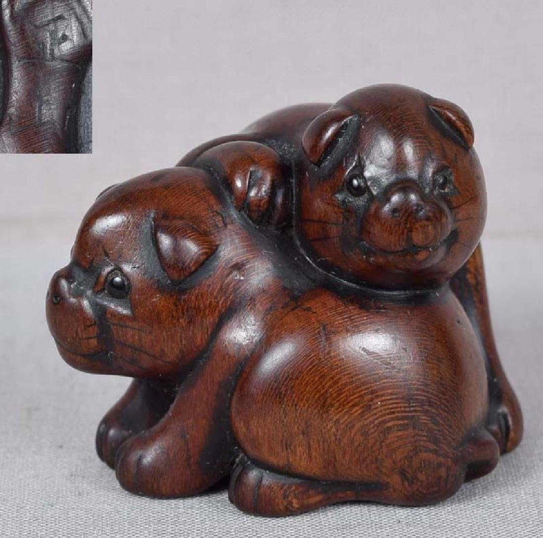 19th Century Netsuke Puppies by Shozan