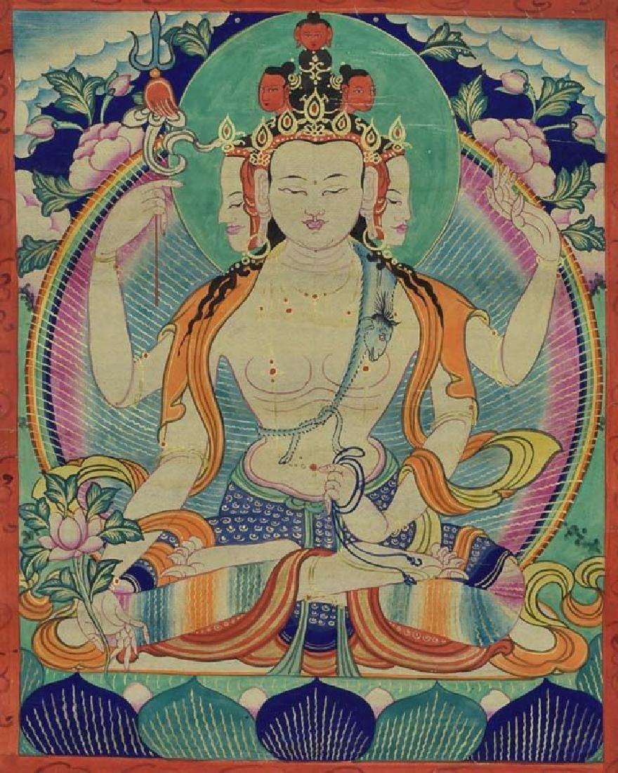 19th Century Tibetan Thangka Bodhisattva Amoghapasha