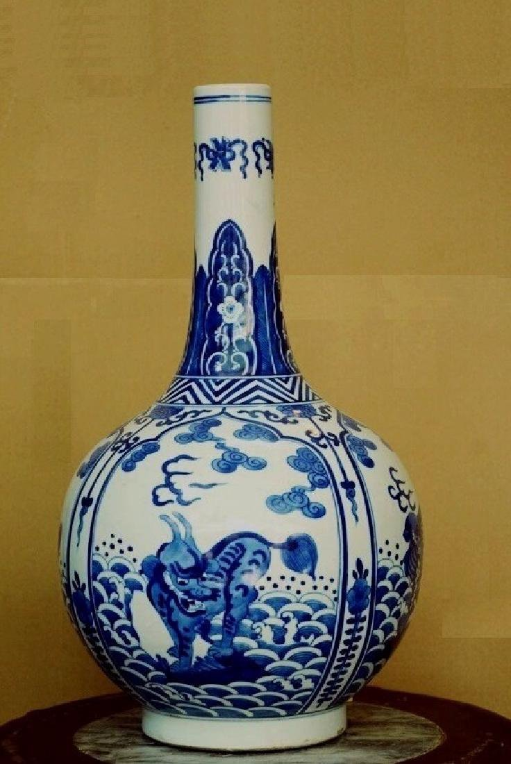 Qing Period / Blue & White Vase Depicts Creature