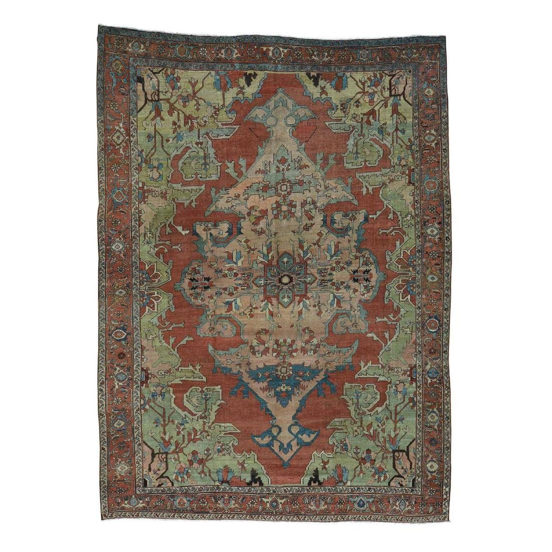 Antique Persian Serapi Hand-Knotted Rug 9.2x13