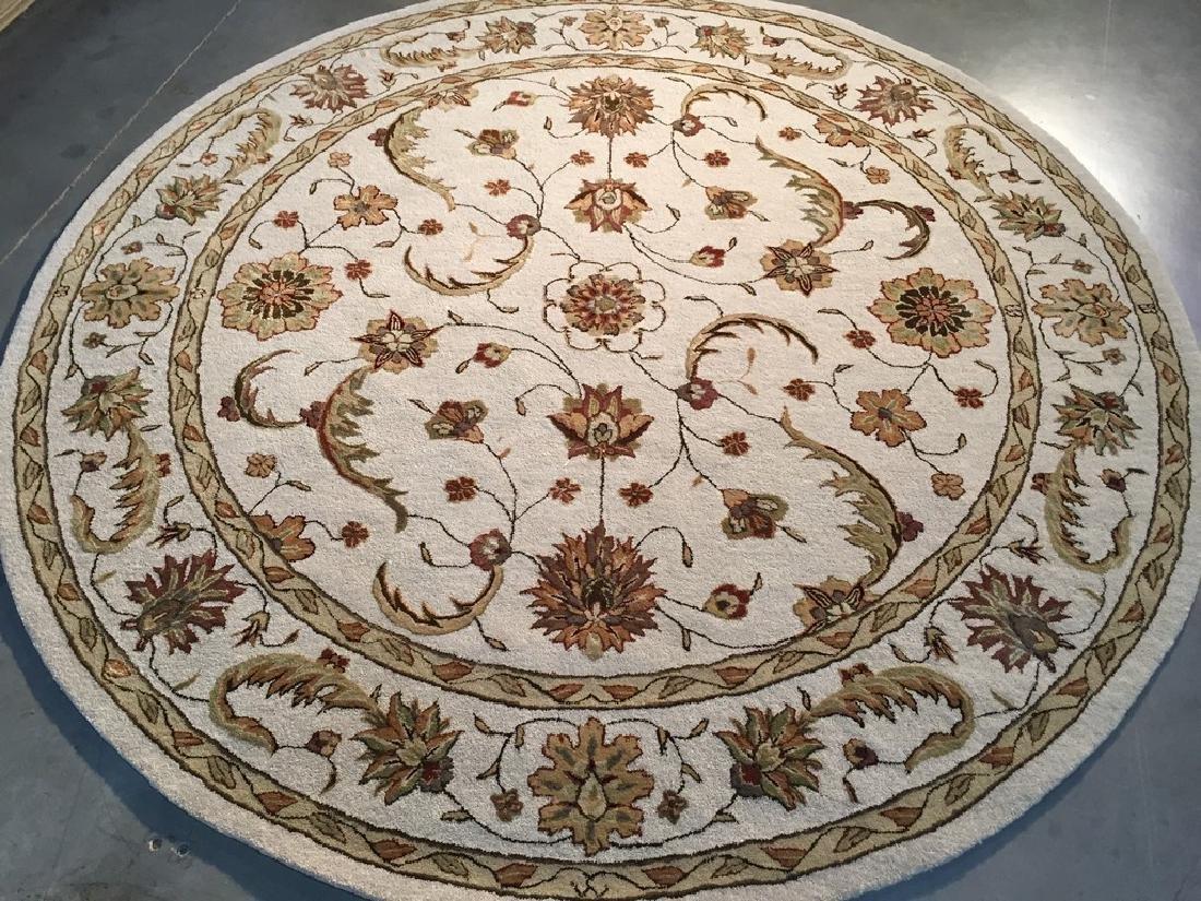 Hand Tufted Wool & Silk Area Round Rug 7.2x7.2