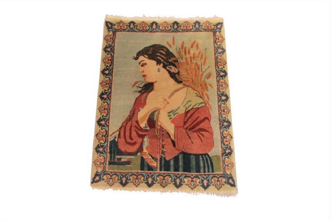 Vintage Pictorial Persian Tabriz Rug Green 1.7x2.4