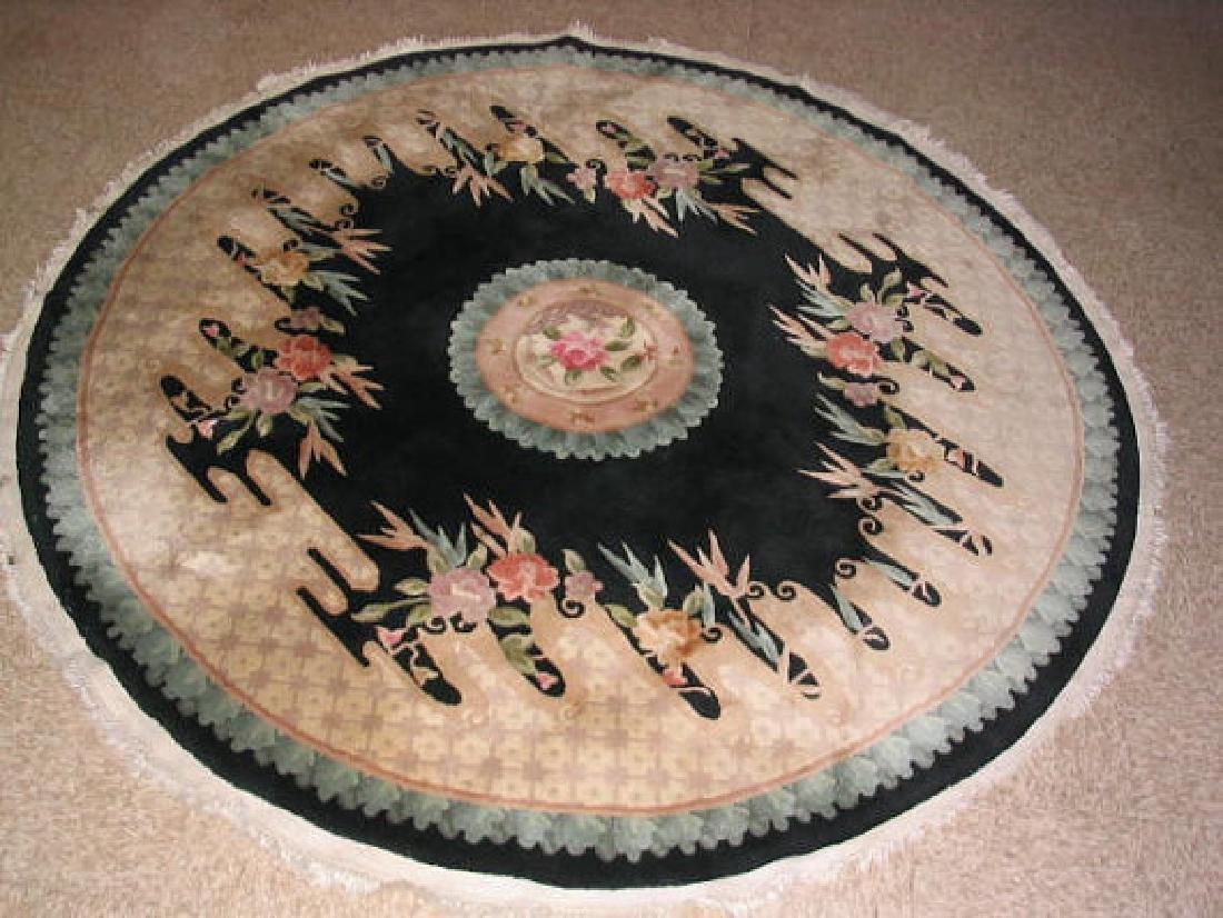 Vintage Chinese Round Rug 5.8x5.8