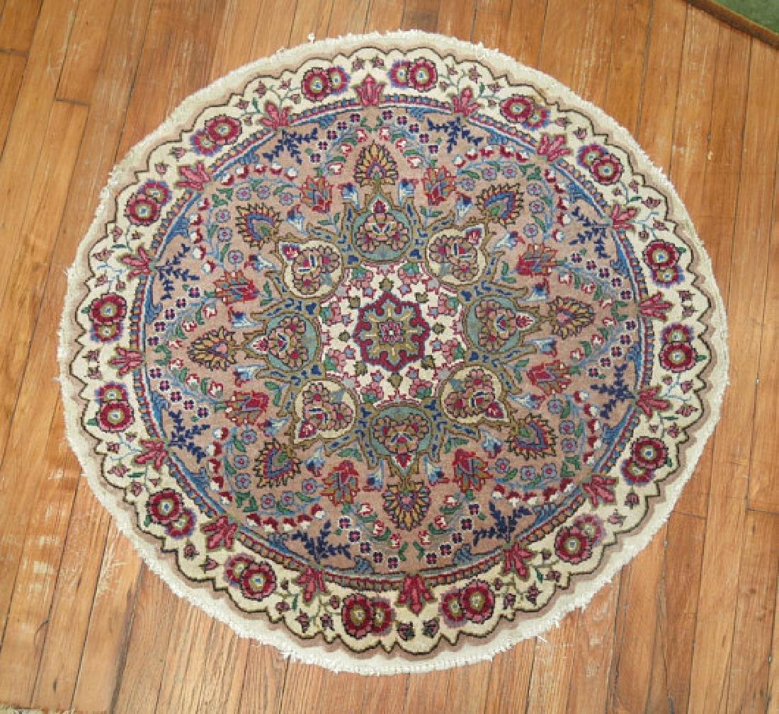 Vintage Persian Tabriz Round Rug 3.3x3.3