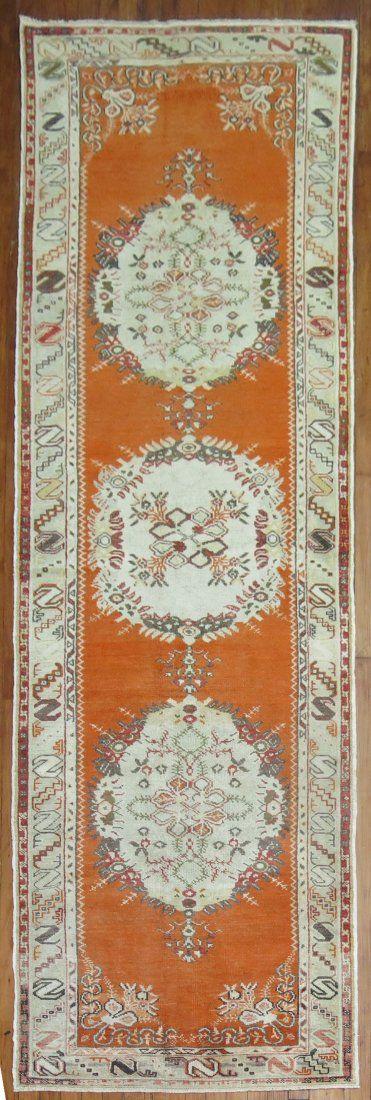 Vintage Turkish Oushak Rug Runner 3.2x11.10
