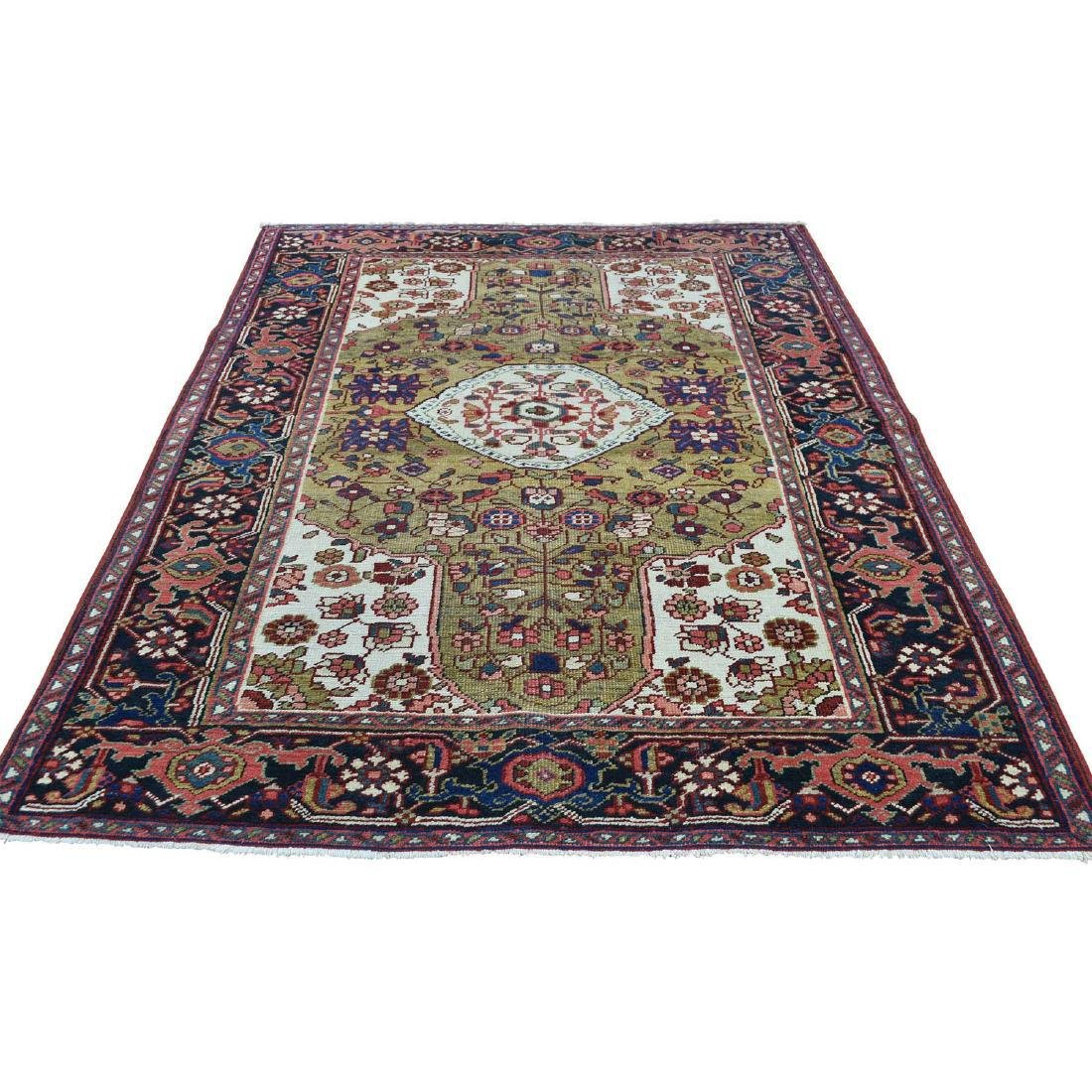 Hand-Knotted Antique Persian Heriz Rug 4.6x6.4