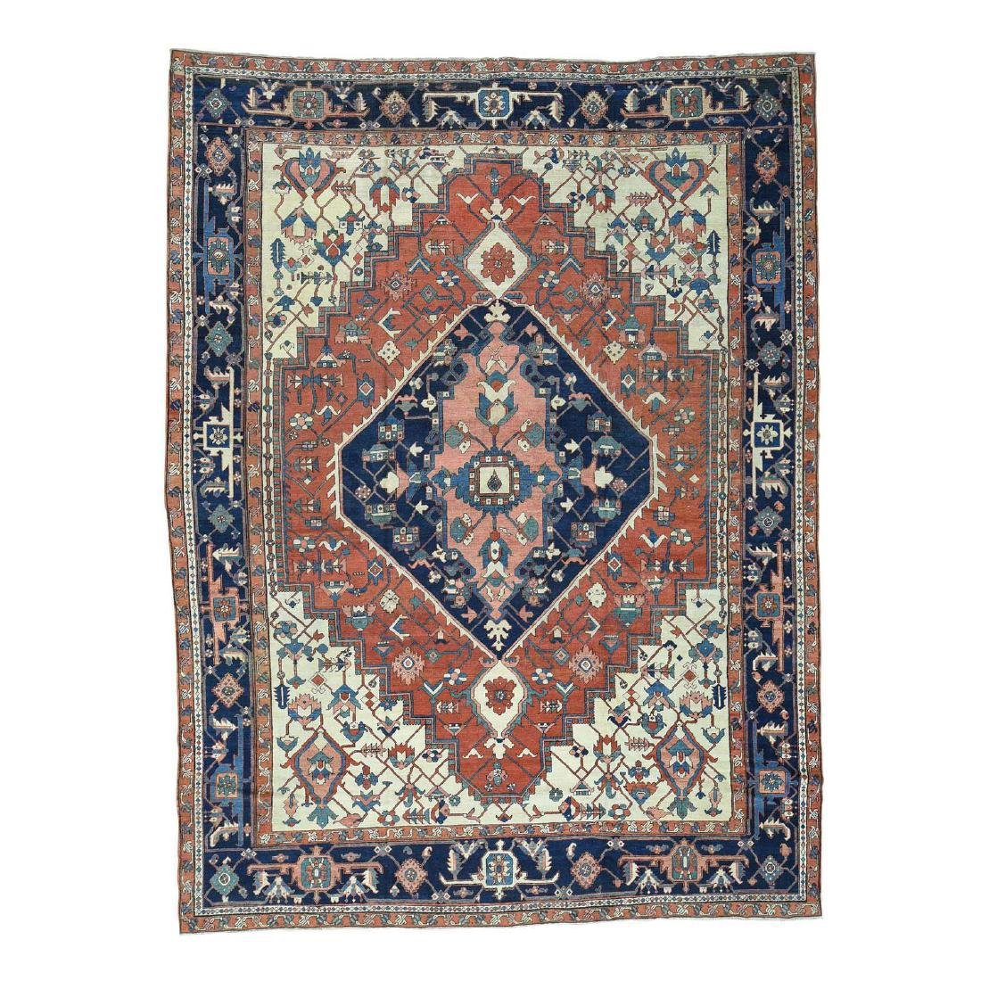 Antique Persian Serapi Hand-Knotted Rug 9.10x13.5