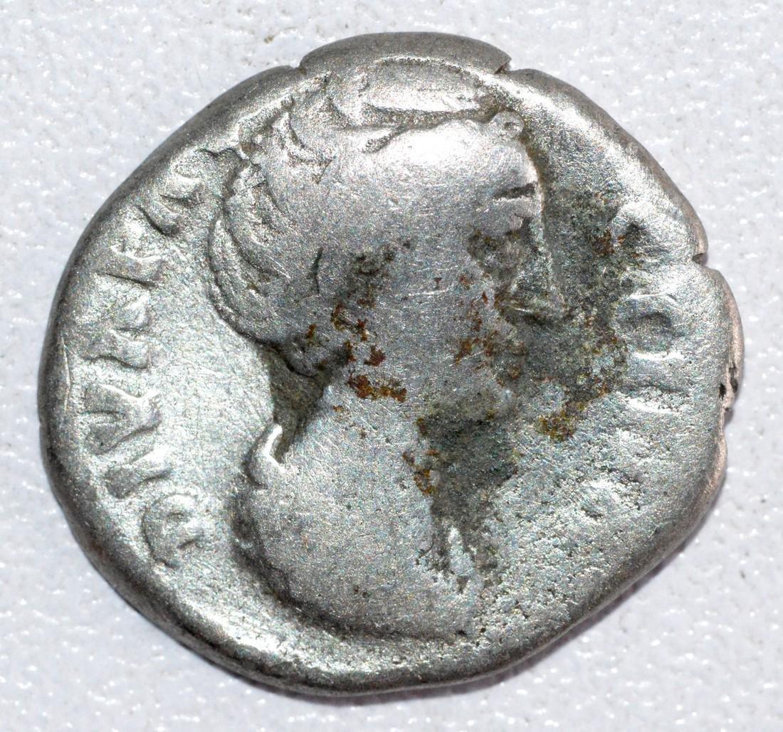 Ancient Roman silver denarius of Empress Faustina rv.