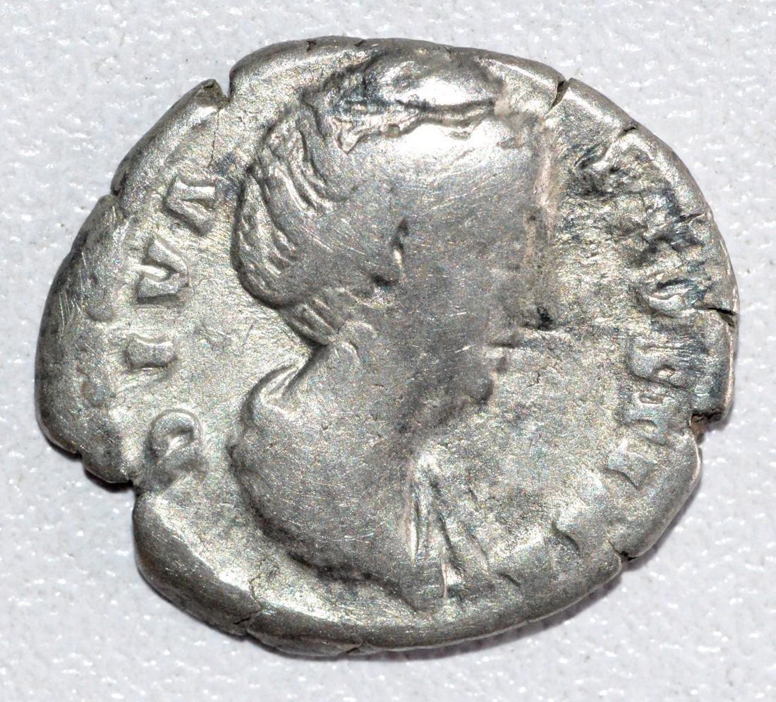 Ancient Roman Silver Denarius of Empress Faustina, rv.
