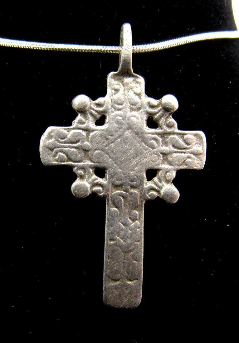 Late Medieval Silver Radiate Cross Pendant