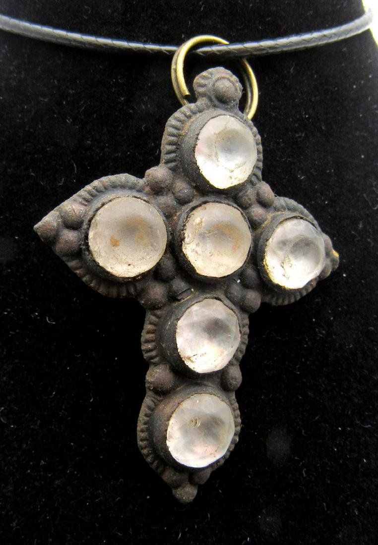Late Medieval Cross Pendant with 6 White Stones