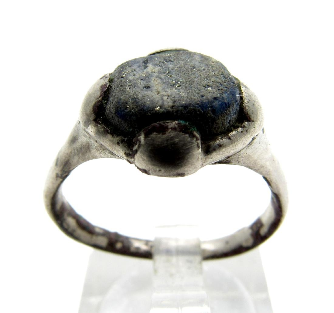 Medieval Viking Silver Ring with a Blue Stone