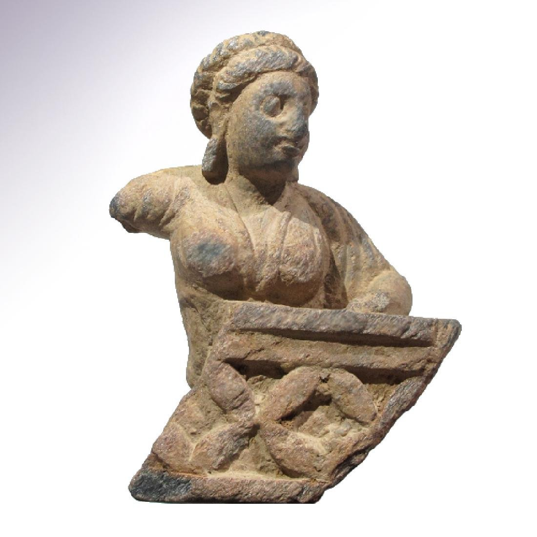 Gandhara Schist Relief Figure, Bust of a Lady, 2nd
