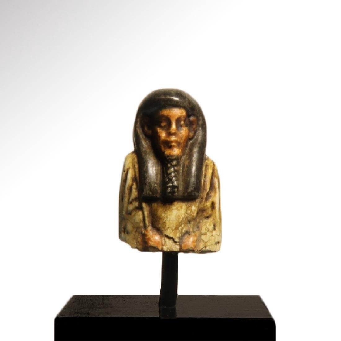 Egyptian Polychrome Faience Bust of a Shabti, c. 300