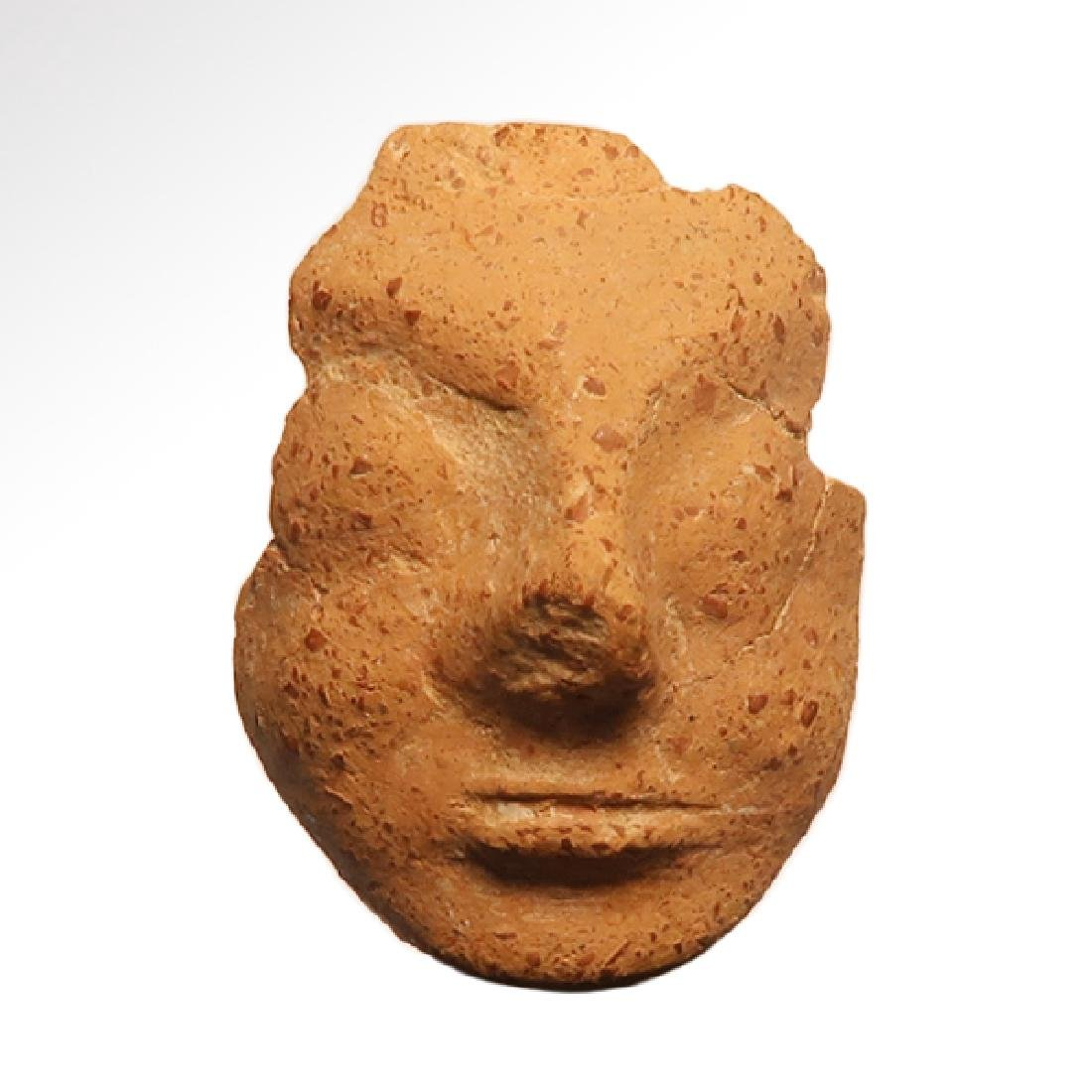 Greek Archaic Cypriot Terracotta Face Fragment, 1st
