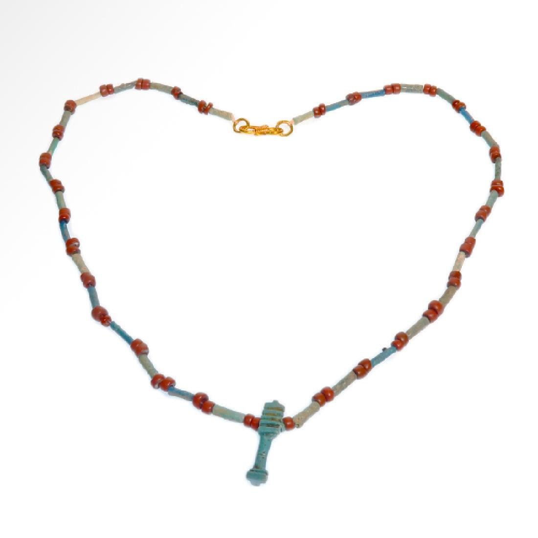 Egyptian Faience Necklace with Djed, 300 B.C.