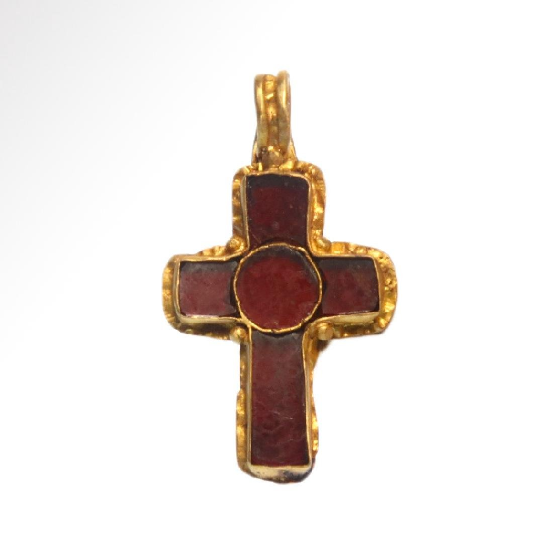 Medieval Gold and Garnet Cloisonné Cross, c. 7th-10th