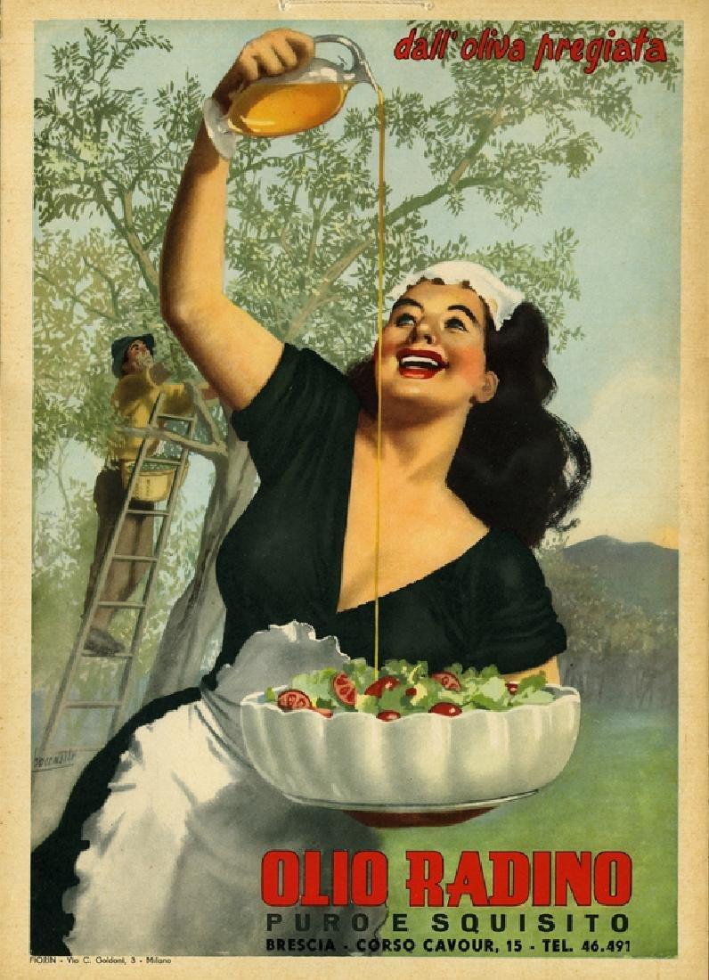 Original Vintage Poster Olio Radino 1950 Art Deco