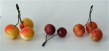 Group of Three Vintage Stone Cherries