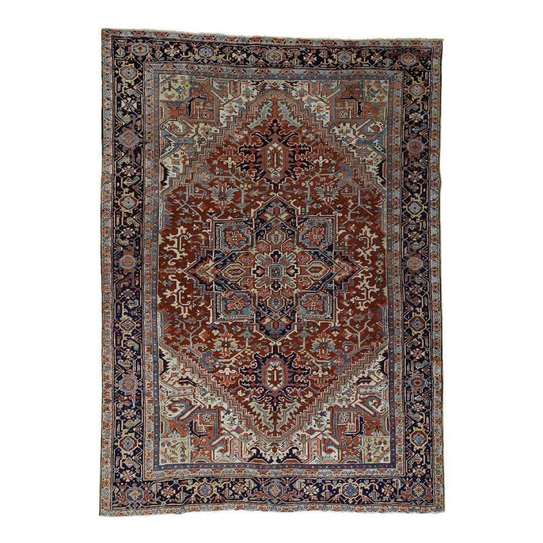 Antique Persian Heriz Full Pile Rug 8.9x12.2