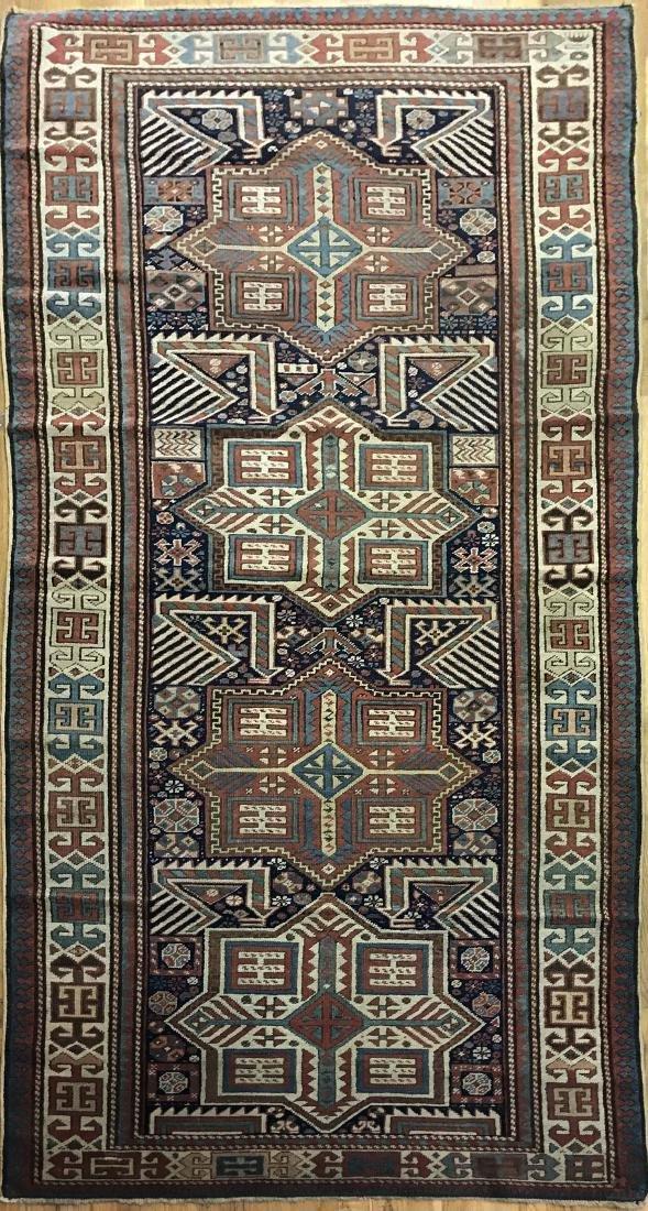 Antique Caucasian Aksatafa Rug 3.5x9.3