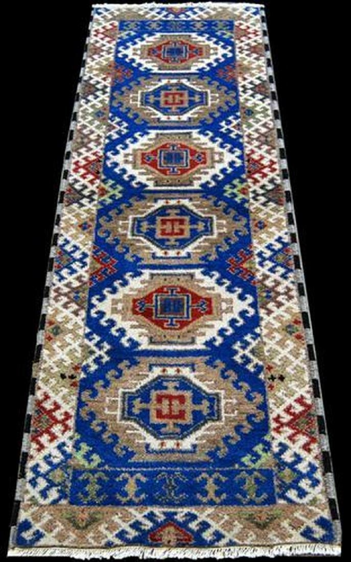 Slavic Tribal Design Kazak Runner Rug 6.7x2.1