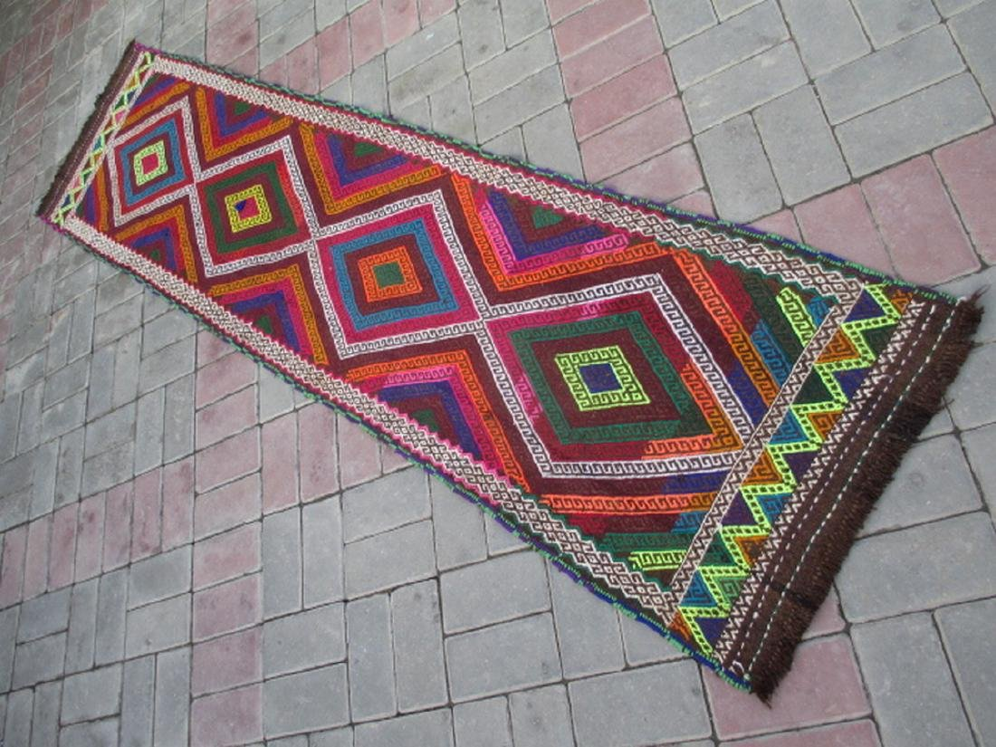 Suzni Hand Made Kilim Runner Rug 1.9x8.1